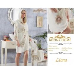 Bonny Home Liona Fransız Dantelli Balayı Kadın Bornoz Seti