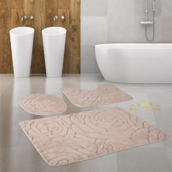Bonny Home Rossa Kapuçino 3lü Banyo Halısı Paspası Seti Kaymaz Tabanlı Klozet Takımı