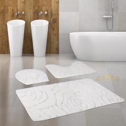 Bonny Home Rossa Krem 3lü Banyo Halısı Paspası Seti Kaymaz Tabanlı Klozet Takımı