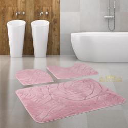 Bonny Home Rossa Pudra 3lü Banyo Halısı Paspası Seti Kaymaz Tabanlı Klozet Takımı