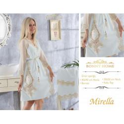 Bonny Home Mirella Mint Fransız Dantelli Balayı Kadın Bornoz Seti