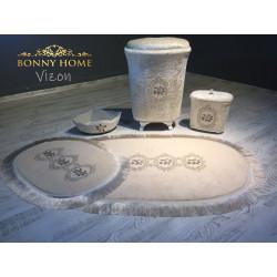 Bonny Home Shems Vizon Banyo Kirli Çamaşır Sepeti Seti + 3lü Banyo Paspas Seti Klozet Takımı