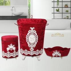 Bonny Home Lisa Bordo 3lü Kadife Banyo Kirli Çamaşır Sepeti Seti