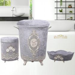 Bonny Home Lisa Gri 3lü Kadife Banyo Kirli Çamaşır Sepeti Seti