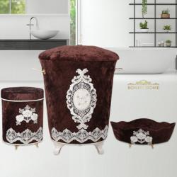 Bonny Home Lisa Kahve 3lü Kadife Banyo Kirli Çamaşır Sepeti Seti