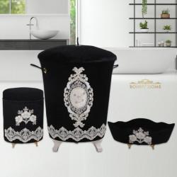 Bonny Home Lisa Siyah 3lü Kadife Banyo Kirli Çamaşır Sepeti Seti