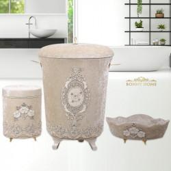 Bonny Home Lisa Vizon 3lü Kadife Banyo Kirli Çamaşır Sepeti Seti