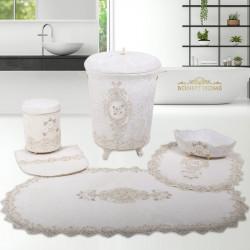 Bonny Home Lisa Krem 6 Prç Dantelli Banyo Kirli Çamaşır Sepeti Seti + Banyo Paspası Seti