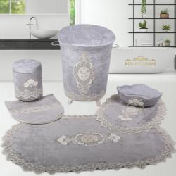 Bonny Home Lisa Gri 6 Prç Dantelli Banyo Kirli Çamaşır Sepeti Seti + Banyo Paspası Seti