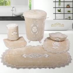 Bonny Home Lisa Vizon 6 Prç Dantelli Banyo Kirli Çamaşır Sepeti Seti + Banyo Paspası Seti