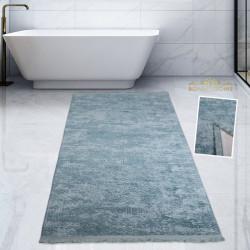 Bonny Home Nova Mavi Pamuk Kaymaz Taban Peluş Banyo Paspası Büyük Püsküllü Banyo Halısı