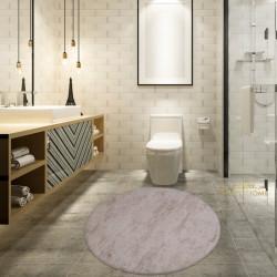 Bonny Home Nova Krem Yuvarlak Pamuk Kaymaz Taban Peluş Banyo Paspası Banyo Halısı