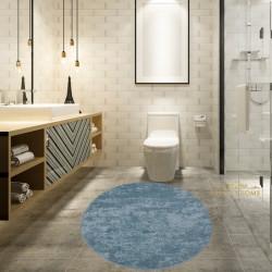 Bonny Home Nova Mavi Yuvarlak Pamuk Kaymaz Taban Peluş Banyo Paspası Banyo Halısı