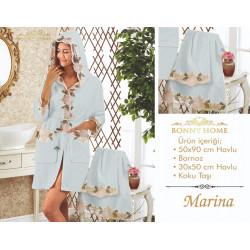 Bonny Home Marina Mint  Fransız Dantelli Balayı Kadın Bornoz Seti