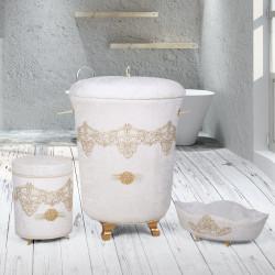 Bonny Home Golden Krem 3lü Kadife Çeyizlik Dantelli Banyo Kirli Çamaşır Sepeti Seti