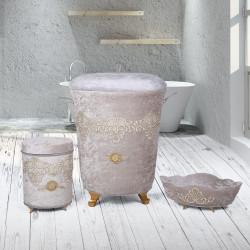 Bonny Home Golden Gri 3lü Kadife Çeyizlik Dantelli Banyo Kirli Çamaşır Sepeti Seti