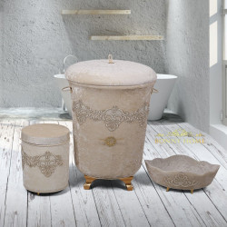 Bonny Home Golden Vizon 3lü Kadife Çeyizlik Dantelli Banyo Kirli Çamaşır Sepeti Seti