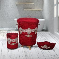 Bonny Home Golden Bordo 3lü Kadife Çeyizlik Dantelli Banyo Kirli Çamaşır Sepeti Seti