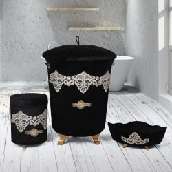 Bonny Home Golden Siyah 3lü Kadife Çeyizlik Dantelli Banyo Kirli Çamaşır Sepeti Seti