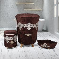 Bonny Home Golden Kahve 3lü Kadife Çeyizlik Dantelli Banyo Kirli Çamaşır Sepeti Seti