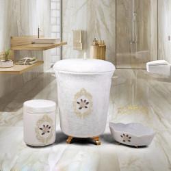 Bonny Home Shems Krem 3lü Kadife Çeyizlik Dantelli Banyo Kirli Çamaşır Sepeti Seti