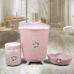 Bonny Home Shems Pudra 3lü Kadife Çeyizlik Dantelli Banyo Kirli Çamaşır Sepeti Seti