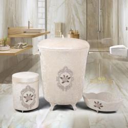 Bonny Home Shems Vizon 3lü Kadife Çeyizlik Dantelli Banyo Kirli Çamaşır Sepeti Seti