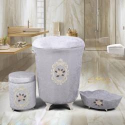 Bonny Home Shems Gri 3lü Kadife Çeyizlik Dantelli Banyo Kirli Çamaşır Sepeti Seti