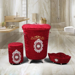 Bonny Home Shems Bordo 3lü Kadife Çeyizlik Dantelli Banyo Kirli Çamaşır Sepeti Seti