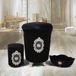 Bonny Home Shems Siyah 3lü Kadife Çeyizlik Dantelli Banyo Kirli Çamaşır Sepeti Seti