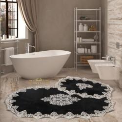 Bonny Home Aplique Lux Siyah 2'li Fransız Dantelli Banyo Paspası Seti Çeyizlik Klozet Takımı