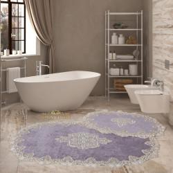 Bonny Home Aplique Lux Gri 2'li Fransız Dantelli Banyo Paspası Seti Çeyizlik Klozet Takımı