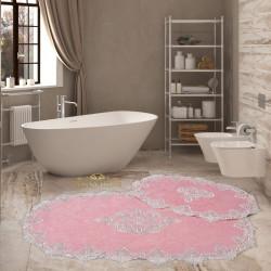 Bonny Home Aplique Lux Pudra 2'li Fransız Dantelli Banyo Paspası Seti Çeyizlik Klozet Takımı