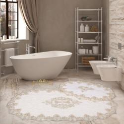 Bonny Home Aplique Lux Krem 2'li Fransız Dantelli Banyo Paspası Seti Çeyizlik Klozet Takımı