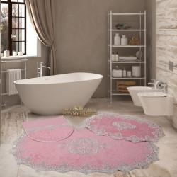 Bonny Home Aplique Lux Pudra 3'lü Fransız Dantelli Banyo Paspası Seti Çeyizlik Klozet Takımı