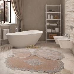 Bonny Home Aplique Lux Vizon 3'lü Fransız Dantelli Banyo Paspası Seti Çeyizlik Klozet Takımı