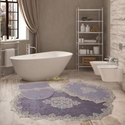 Bonny Home Aplique Lux Gri 3'lü Fransız Dantelli Banyo Paspası Seti Çeyizlik Klozet Takımı