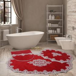 Bonny Home Aplique Lux Bordo 3'lü Fransız Dantelli Banyo Paspası Seti Çeyizlik Klozet Takımı