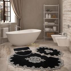 Bonny Home Aplique Lux Siyah 3'lü Fransız Dantelli Banyo Paspası Seti Çeyizlik Klozet Takımı