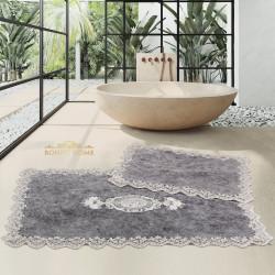Bonny Home Cotton Lux Köşeli Antrasit 2'li Pamuk Banyo Halısı Paspası Seti Çeyizlik Klozet Takımı