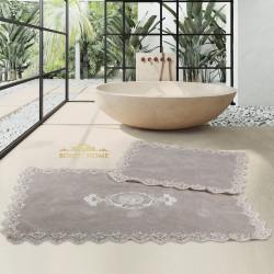 Bonny Home Cotton Lux Köşeli Kapuçino 2'li Pamuk Banyo Halısı Paspası Seti Çeyizlik Klozet Takımı