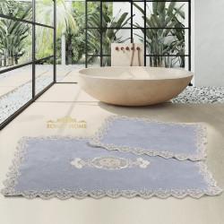 Bonny Home Cotton Lux Köşeli Gri 2'li Pamuk Banyo Halısı Paspası Seti Çeyizlik Klozet Takımı