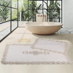 Bonny Home Cotton Lux Köşeli Krem 2'li Pamuk Banyo Halısı Paspası Seti Çeyizlik Klozet Takımı