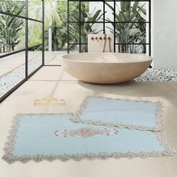 Bonny Home Cotton Lux Köşeli Mint 2'li Pamuk Banyo Halısı Paspası Seti Çeyizlik Klozet Takımı