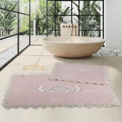 Bonny Home Cotton Lux Köşeli Pudra 2'li Pamuk Banyo Halısı Paspası Seti Çeyizlik Klozet Takımı