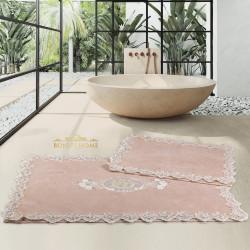 Bonny Home Cotton Lux Köşeli Vizon 2'li Pamuk Banyo Halısı Paspası Seti Çeyizlik Klozet Takımı