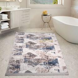 Bonny Home Nina Mavi 80x150 cm Pamuk Kaymaz Taban Peluş Büyük Püsküllü Banyo Paspası Halısı