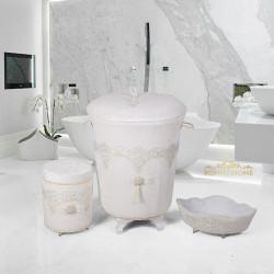 Bonny Home Luxury Krem 3lü Kadife Çeyizlik Dantelli Banyo Kirli Çamaşır Sepeti Seti