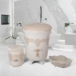 Bonny Home Luxury Vizon 3lü Kadife Çeyizlik Dantelli Banyo Kirli Çamaşır Sepeti Seti