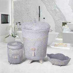 Bonny Home Luxury Gri 3lü Kadife Çeyizlik Dantelli Banyo Kirli Çamaşır Sepeti Seti